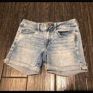 American Eagle Midi Rise Cut Off Denim Shorts